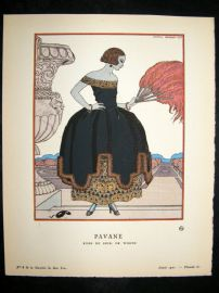 Gazette du Bon Ton by George Barbier 1921 Art Deco Pochoir. Pavane